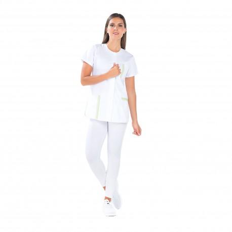 Tunique médicale femme blanche liseré vert-REMI-