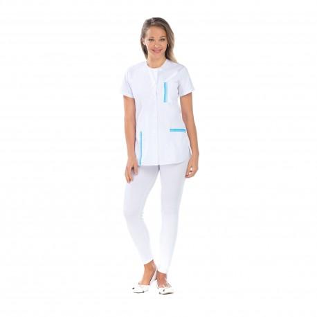 Tunique médicale femme blanche liseré bleu-REMI-