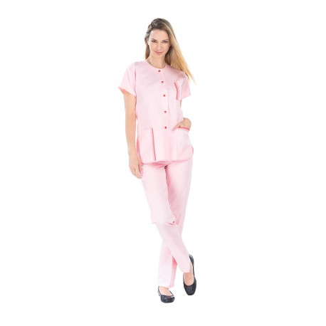 Tunique médicale femme rose polycoton fente côté-REMI-