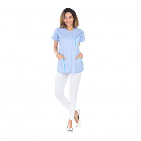 Tunique médicale femme bleu ciel polycoton fente côté-REMI-