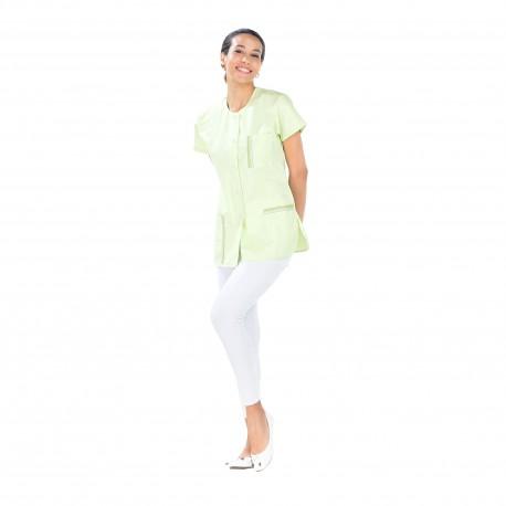 Blouse médicale femme vert nil polycoton fente côté-REMI-