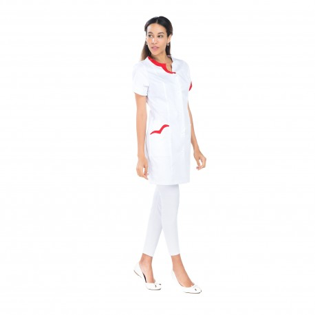 Blouse médicale femme blanche liseré rouge -REMI-