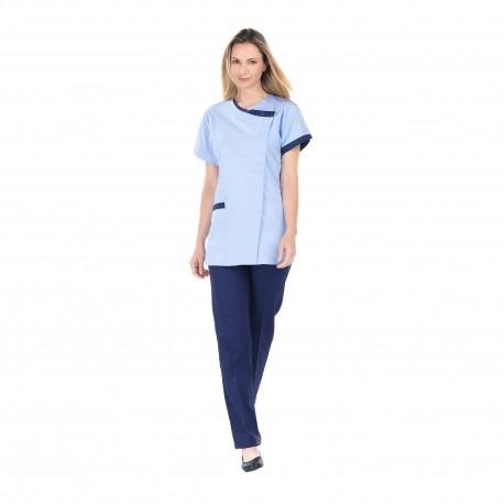 Tunique médicale femme bleu ciel fermeture côté-REMI-
