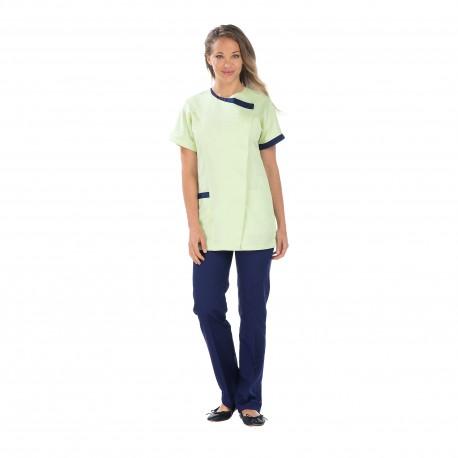 Tunique médicale femme vert nil fermeture côté-REMI-
