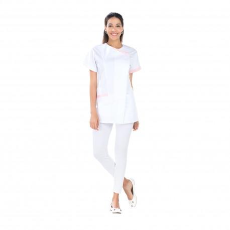Blouse Médicale femme blanche liseré rose polycoton-REMI-