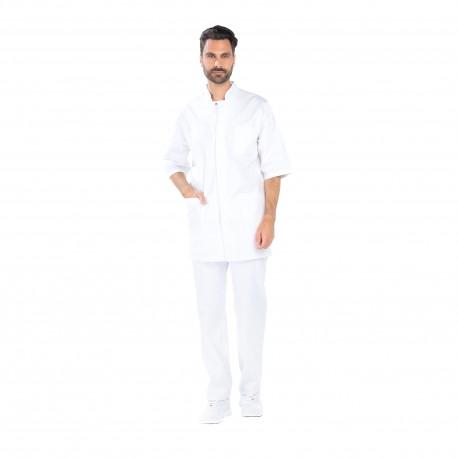 Blouse médicale blanche pour homme coton Bio-REMI-