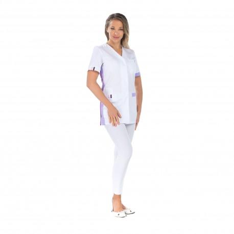 Blouse pharmacie blanche avec fentes cotés-REMI-