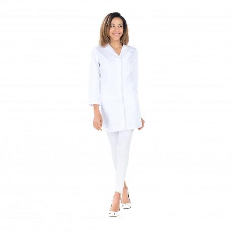 Blouse de laboratoire mi longue manches longues 65% polyester 35% coton blanc pour femme BP