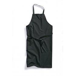 Tablier de cuisine à bavette noir polycoton -BP-