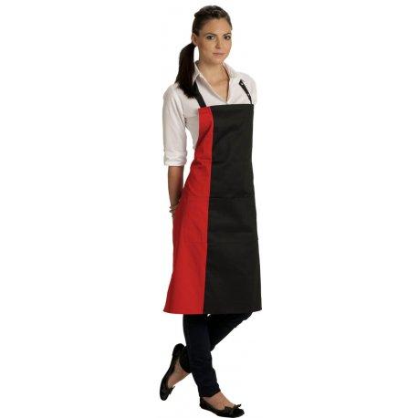 Tablier Bavette deux couleurs rouge et noir avec poche -Talbot-