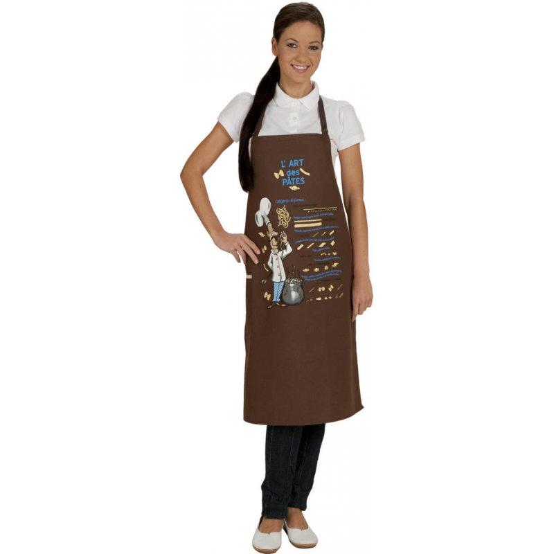 Tablier de cuisine fantaisie pasta marron - Tablier cuisine fantaisie ...
