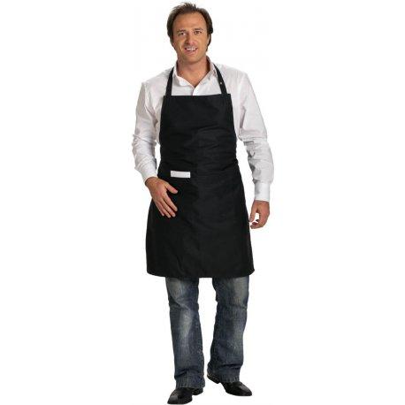 Tablier bavette noir polycoton une grande poche rectangulaire -TALBOT-