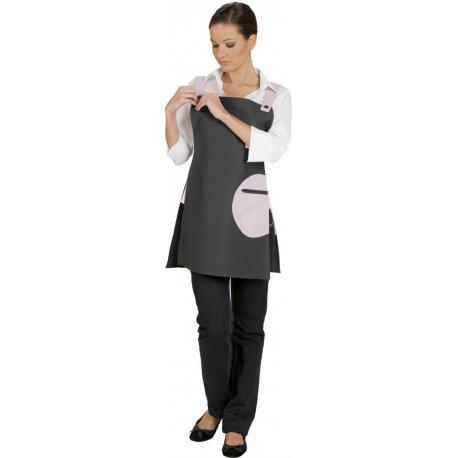 Tablier Chasuble avec Bretelles gris poche rose-TALBOT-