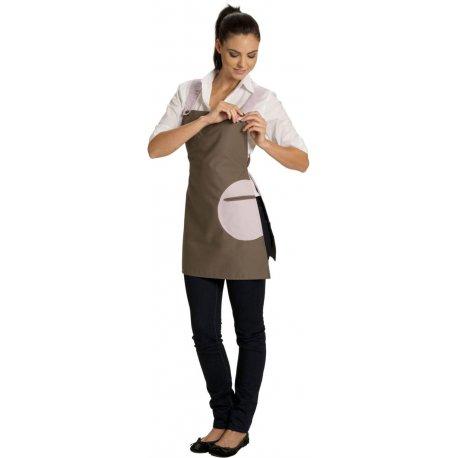 Tablier Chassuble avec Bretelles marron poche rose-TALBOT-