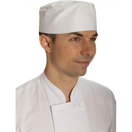 Toque plate boulanger velcro coton blanc-Talbot-