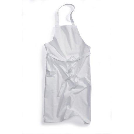 Tablier de cuisine à Bavette blanc polycoton réglable au cou-BP-