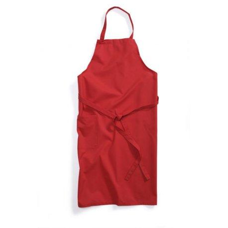 Tablier de cuisine rouge à Bavette -BP- réglable au cou