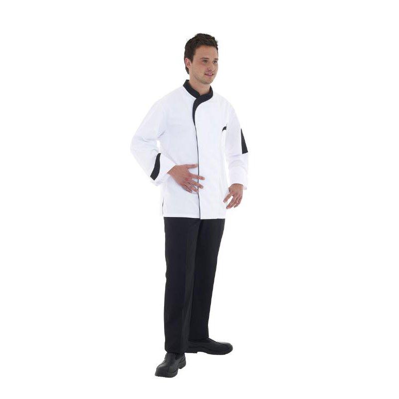 Veste de cuisine jonathan blanche col noir remi achat for Achat veste de cuisine