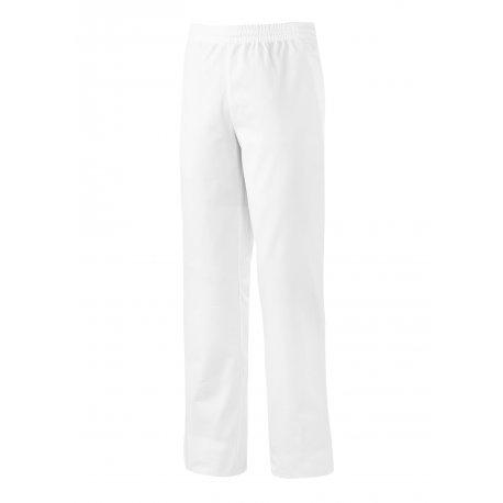 Pantalon de cuisine blanc élastiqué taille avec cordon de serrage