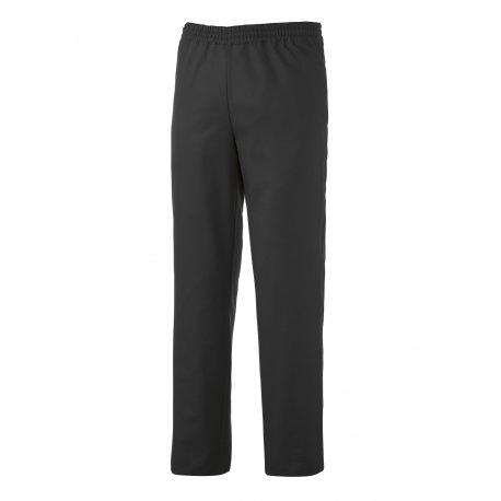 Pantalon de cuisine noir élastiqué taille avec cordon de serrage
