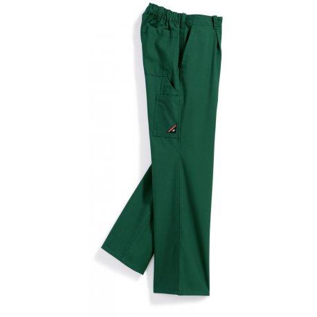 Pantalon de travail vert 60% coton taille élastiqué dos-BP-